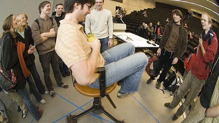 Student on spinning chair